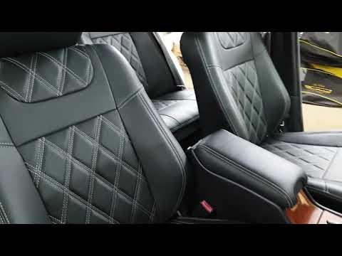 """Чехлы на Mercedes (W210), серии """"Premium"""" с ромбами - серая строчка"""