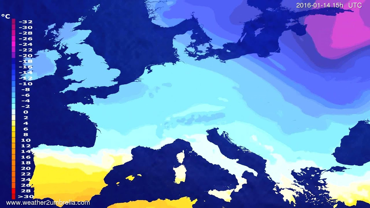 Temperature forecast Europe 2016-01-11