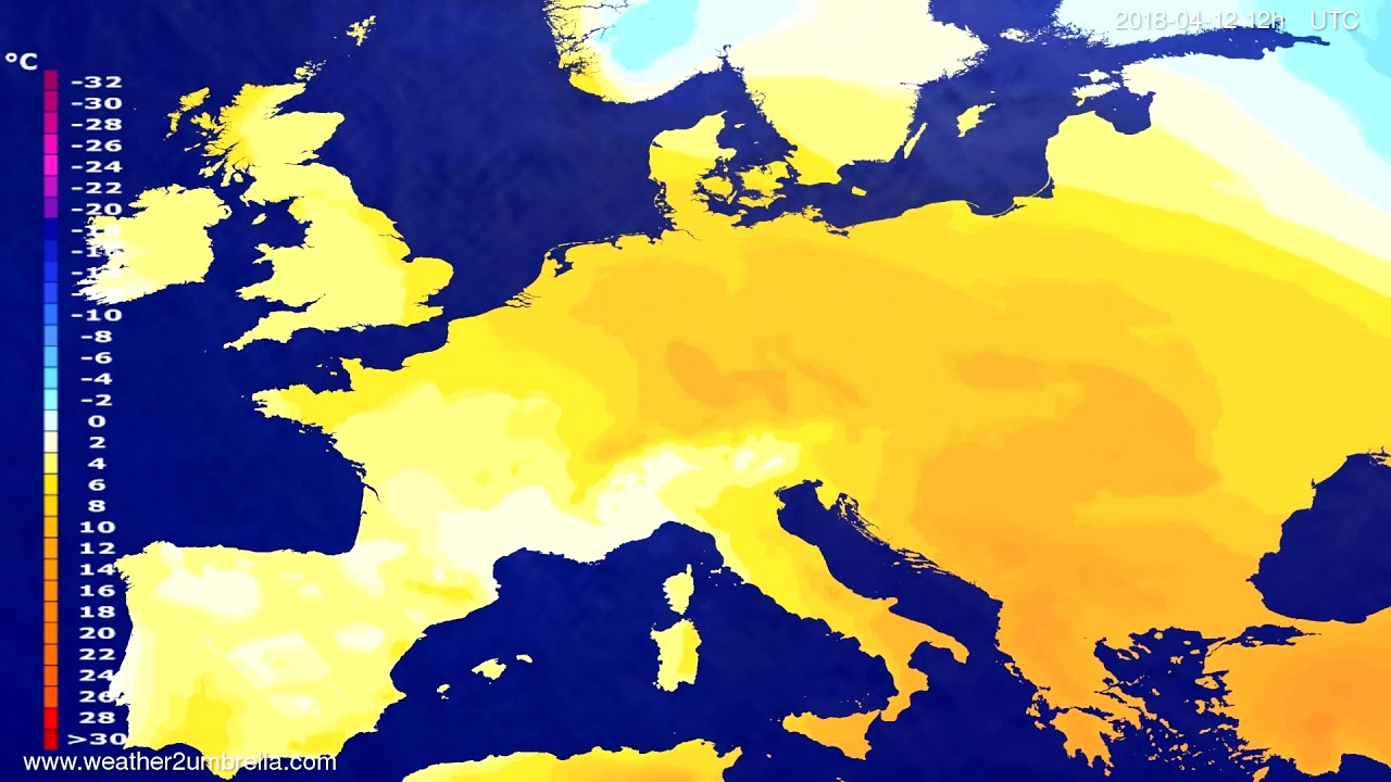 Temperature forecast Europe 2018-04-10