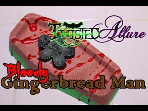 Twisted Allure.- BLOODY GINGERBREAD MAN Bath Bomb - DEMO - Review - Underwater View