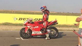 9. RoSBK + CNIR etapa 5 - 2016 - Start - DUCATI 1098 - Chain broke in lap 3