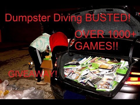 GAMESTOP DUMPSTER DIVE HAUL! OVER 1000 GAMES FOUND!!(BUSTED!)