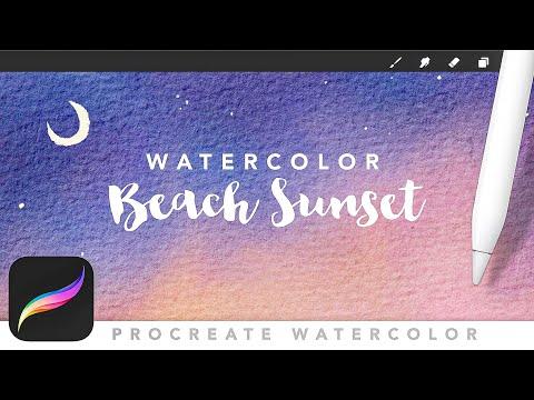 Procreate Watercolor Beach Scene