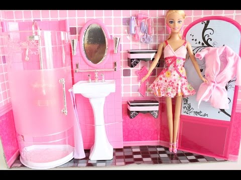 BARBIE DOLL BATHROOM UNBOXING