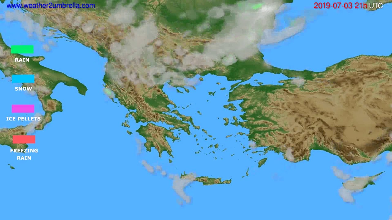 Precipitation forecast Greece // modelrun: 00h UTC 2019-07-02