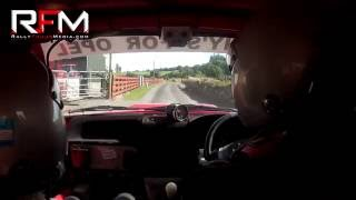 Roland Doherty (Driver) and PJ O'Dowd (Navigator) in their Opel Corsa on Stage 8 of the Stonethowers Stages Rally 2016. Upload Footage courtesy of Rally Focus Media.