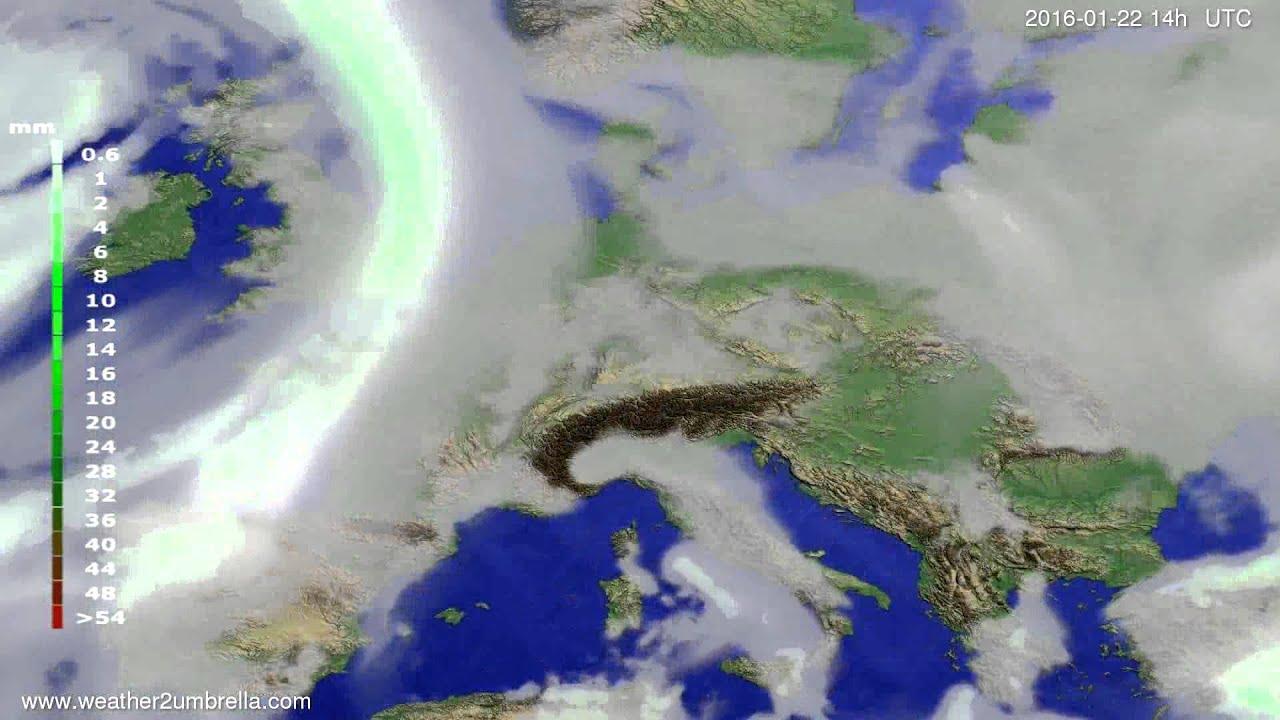 Precipitation forecast Europe 2016-01-18