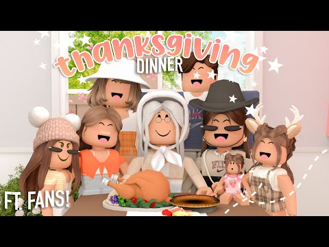 HUGE FAMILY THANKSGIVING DINNER ft. FANS! (Family Visits Reunion) | Roblox Bloxburg Roleplay