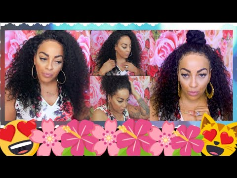 Curly hairstyles - 3 EASY #CC FRIENDLY SUMMER STYLES ON A DEEP CURLY GLUE LESS FULL LACE WIG featuring LuHair com
