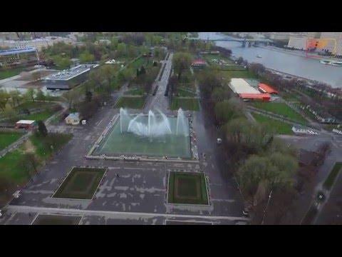 Фонтан в Парке Горького с высоты птичьего полета