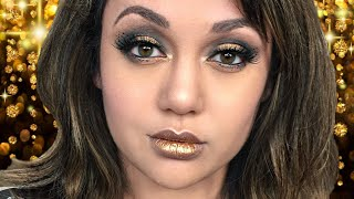 BLACK AND GOLD MAKEUP LOOK! + Fav LA Foods Chat by Kat Sketch