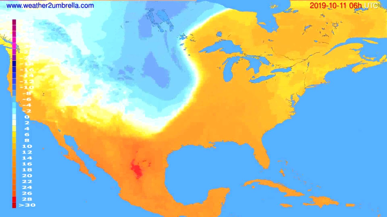 Temperature forecast USA & Canada // modelrun: 12h UTC 2019-10-08