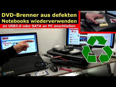 Notebook DVD Laufwerk extern an USB oder in PC einbauen an SATA - [4K Video]