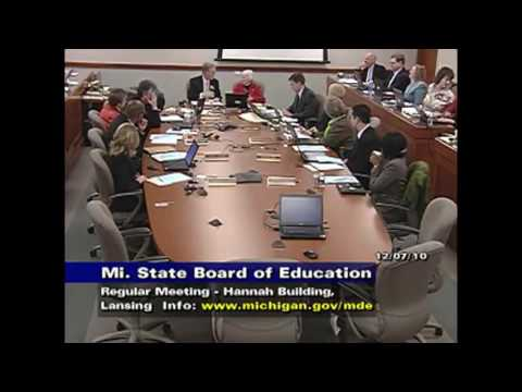 Michigan State Board of Education Meeting for December 7, 2010 - Session Part 1