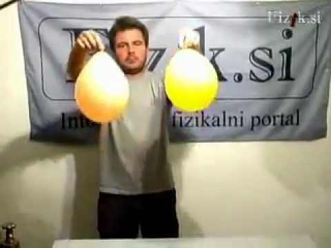 Balloon filled with SF6 - physics experiment
