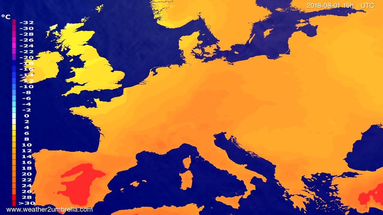 Temperature forecast Europe 2018-07-30