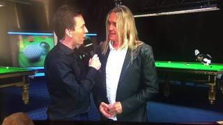 Nicko McBrain from Iron Maiden with Ken Doherty (BBC Snooker)