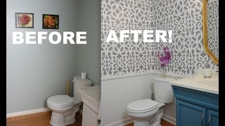My Colorful Small Gray Bathroom Makeover With Stencils! - ThriftDiving.com
