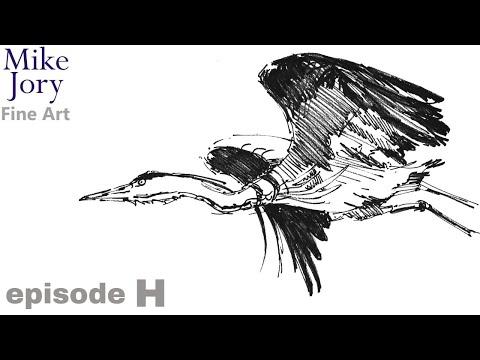 Ten minute heron drawing