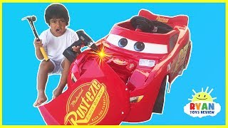 Disney Cars 3 Lightning McQueen Battery Powered Power Wheels Ride on Car Kids Unboxing & Test Drive with Ryan ToysReview! Lightning McQueen crash his car and Ryan and daddy helps assemble him together! Kids can bring the fun adventure of the new Disney Pixar Cars 3 movie to life with this Lightning McQueen Ride-On by Power Wheels! Realistic Disney Pixar Cars graphics and Cool race car sounds & phrases! Forward & reverse speed 3. 5 mph! Great Kids Video for children who loves playing with Disney Cars 3 Toys! Disney Cars Toys Lightning McQueen Tow Mater playlisthttps://www.youtube.com/playlist?list=PLasCX3wfxLR386DpjV138TAEamUNtYU5fCARS 3 DISNEY PIXAR Biggest Surprise Toys Collection Opening! https://youtu.be/mx5KXEOC978?list=PLasCX3wfxLR386DpjV138TAEamUNtYU5f100+ cars toys GIANT EGG SURPRISE OPENING Disney Pixar Lightning McQueenhttps://youtu.be/Tldlt2RhrDw?list=PLasCX3wfxLR386DpjV138TAEamUNtYU5f Mack's Mobile Tool Center! https://youtu.be/R3d0c8naZCw?list=PLasCX3wfxLR386DpjV138TAEamUNtYU5fDISNEY CARS 3 Toys Collection Mattel Tour + World's Largest Hot Wheels Race Track https://youtu.be/JE3cxWLep7M?list=PLasCX3wfxLR3TCuSEu2ICNDL9yTu6IDWKSee more Giant Egg Surprise opening playlist herehttps://www.youtube.com/playlist?list=PLasCX3wfxLR3i7mgt77pLWi82I7u37MT5GIANT EGG SURPRISE OPENING TRANSFORMER Optimus Prime Batman Imaginext Robot https://youtu.be/YCYFXwYo_Bc?list=PLasCX3wfxLR3i7mgt77pLWi82I7u37MT5GIANT EGG SURPRISE MINION from Despicable Me https://youtu.be/ZKBLHf2hIf4?list=PLasCX3wfxLR3i7mgt77pLWi82I7u37MT5GIANT EGG SURPRISE OPENING Thomas and Friends toy trains kids video https://youtu.be/IPieLuzZM8Q?list=PLasCX3wfxLR3i7mgt77pLWi82I7u37MT5GOLDEN GIANT EGG SURPRISE OPENING Disney Toy Story Woody Buzz Lightyear https://youtu.be/8PaTSjOjVL8?list=PLasCX3wfxLR3i7mgt77pLWi82I7u37MT5GIANT EGG SURPRISE OPENING SPIDERMAN Marvel superhero toys https://youtu.be/FbgK3whZLoU?list=PLasCX3wfxLR3i7mgt77pLWi82I7u37MT5GIANT EGG SURPRISE OLAF WORLD BIGGEST Disney Frozen Elsa Anna Toy