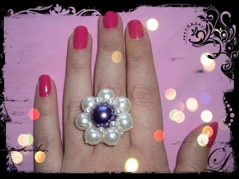 FIORE D'ANELLO PERLATO ♥ Come realizzare un anello con le perle ♥ VIDEOTUTORIAL