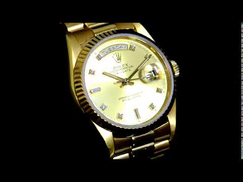 Men's 18k Yellow Gold Rolex Day-Date Automatic Wristwatch with Diamonds