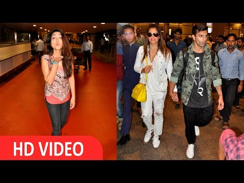 Shriya Saran ,Bipasha Basu & Karan Singh Grover Spotted At Airport