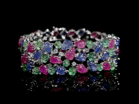 18k White Gold 'Tutti Frutti' 96.96ct (TW) Rubies, Sapphires,  Emeralds and Diamond Bracelet