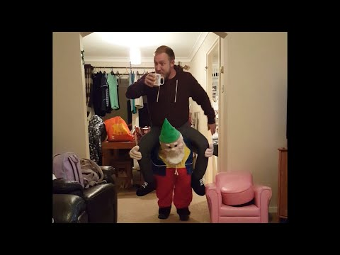 Dad Walks Around House in Gnome Costume