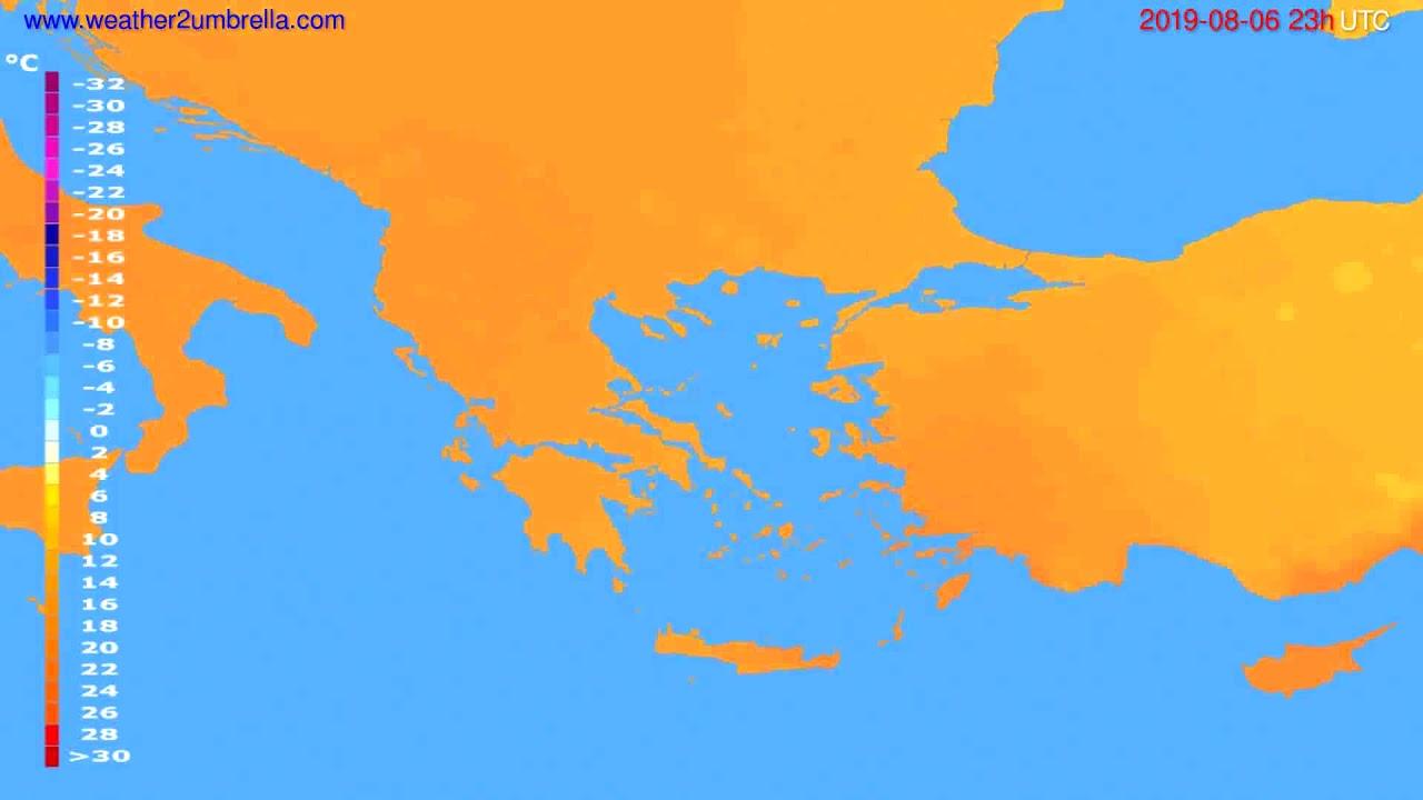 Temperature forecast Greece // modelrun: 12h UTC 2019-08-03