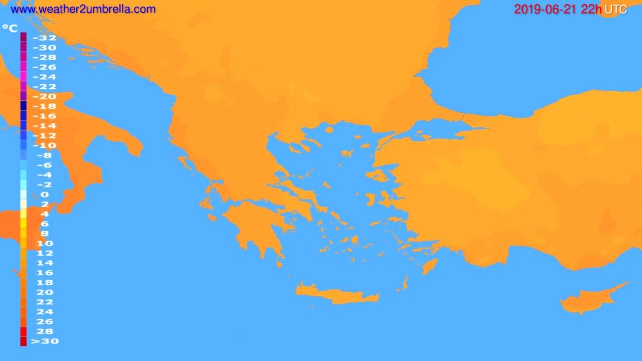 Temperature forecast Greece // modelrun: 00h UTC 2019-06-19