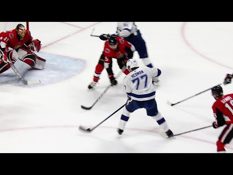 Video: Senators stare at Hedman as he skates in and beats Anderson