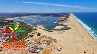 Santiago do Cacem Portugal  City pictures : Lagoa de Santo André - Santo Andre Lagoon aerial view - Santiago do Cacém - 4K Ultra HD