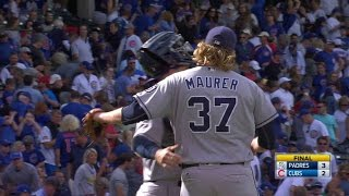 Brandon Maurer gets Kyle Schwarber to ground out to Wil Myers to tally his 13th save of the season and give the Padres a 3-2 ...