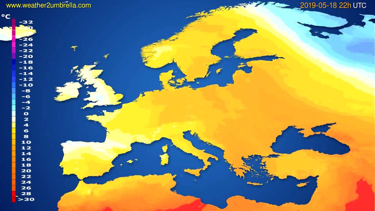 Temperature forecast Europe // modelrun: 00h UTC 2019-05-16