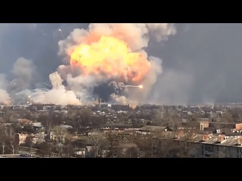 Explosion in the army ammo depot in Ukraine   Rockets are flying over the city