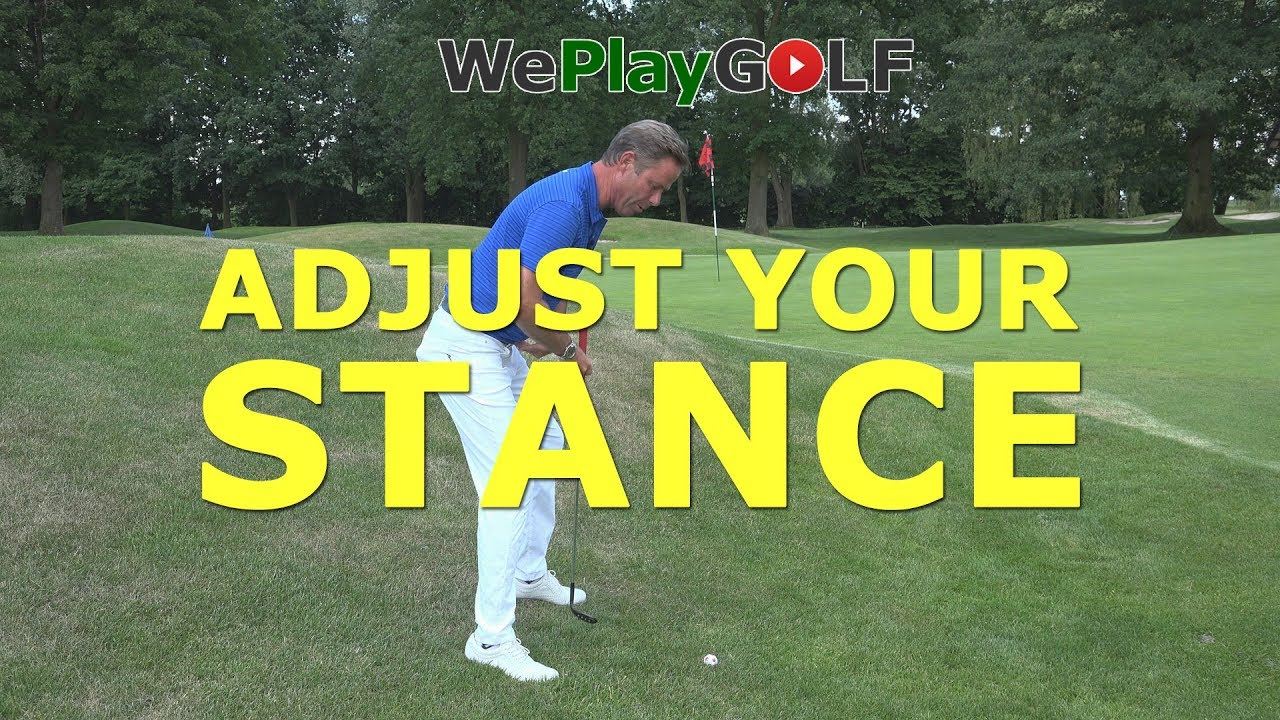 Adjust your stance for a short chip with the ball below your feet