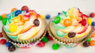 Skittles Cupcakes with Rainbow Icing from Cookies Cupcakes and Cardio - YouTube