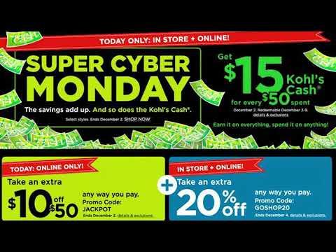 KOHL'S SUPER CYBER MONDAY SALE KICKED OFF WITH KOHL'S CASH BACK