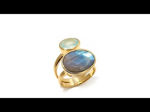 AV Galerie Labradorite and Chalcedony Double Gem Ring