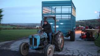 Brendan Marshall on his 1960 Fordson Dexta which weighs approx 1-1 1/4 tons pull two 20 foot silage trailers which weigh 5 ton each, an 18 foot thorpe which weighs 4.5 ton and a grain trailer which weighs 4.5 ton as well.This was in aid of #ONTHEPULL FOR MUSCULAR DYSTROPHY by farm tv and €20 was donatedThanks to all involved Facebook page: https://www.facebook.com/agrivideoscorkEquipment:DJI phantom 3 standardCanon 700d with