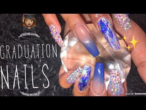 Acrylic Nails Design  Blue Ombré Nails