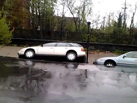 Rain Saturated Street Collapse in Baltimore
