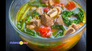 Beef Short Rib Sinigang na May Pakwan is a version of beef sinigang wherein fresh watermelon (locally known as pakwan in the Philippines) is added. This gives the dish a fresher taste with a hint of sweetness. This recipe is a must try.Get the complete recipe at http://panlasangpinoy.com/2017/07/23/beef-short-rib-sinigang-na-may-pakwan/