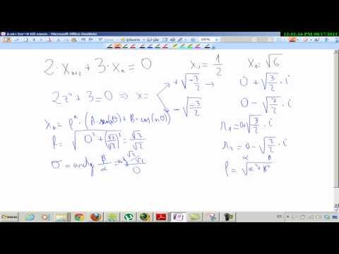 Ecuaciones en diferencia homogénea con soluciones complejas Matemáticas Universidad Biología
