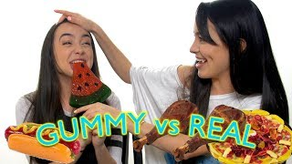 We try gummy foods that look like real foods. And Veronica gags a lot. Subscribe to Merrell Twins: http://bit.ly/2dSP9FgSubscribe to our NEW CHANNEL!!!!!MERRELL TWINS LIVEhttp://www.youtube.com/channel/UCCqWrxHaMTPBsDUThxiBTJg?sub_confirmation=1Check Out Our Other Videos:OUR FIRST FIGHThttps://youtu.be/W8JfMOX7PfwWHAT's WORSE THAN THAThttps://youtu.be/mJ__BJdF3MUMAKEUP TIN FOIL CHALLENGEhttps://youtu.be/MPAmarNvhZg10 THINGS YOU'RE DOING WRONGhttps://youtu.be/e8z7j4Ukt1YGet Merrell Twins Merch:https://www.districtlines.com/Merrell-TwinsSNAPCHAT: @merrelltwinsTWITTER: https://twitter.com/MerrellTwinsTWITTER: https://twitter.com/VanessaMerrellTWITTER:  https://twitter.com/veronicamerrellINSTAGRAM: http://instagram.com/merrelltwinsINSTAGRAM: http://instagram.com/vanessamerrellINSTAGRAM:http://instagram.com/veronicamerrellFACEBOOK: https://www.facebook.com/MerrellTwinsWEHEARTIT https://www.weheartit.com/merrelltwinswww.merrelltwins.com