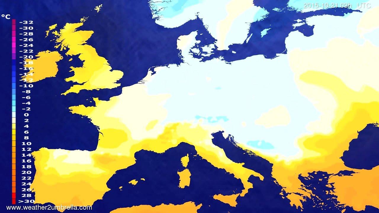 Temperature forecast Europe 2015-10-18