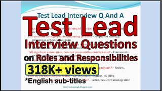 Test Lead Interview Questions and Answers
