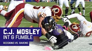 C.J. Mosley Picks Off Kirk Cousins & Fumbles at Goal Line for Touchback | Redskins vs. Ravens | NFL by NFL