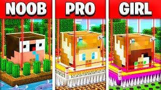 NOOB vs PRO vs GIRL MOST SECURE MINECRAFT HOUSE BATTLE! (Building Challenge)